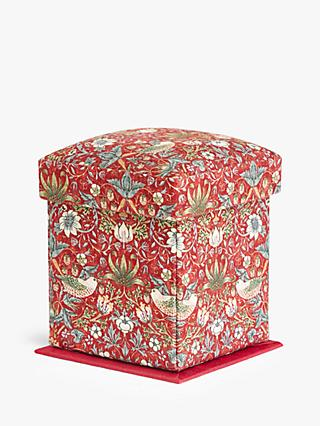John Lewis & Partners William Morris Strawberry Thief Print Victorian Sewing Box, Red