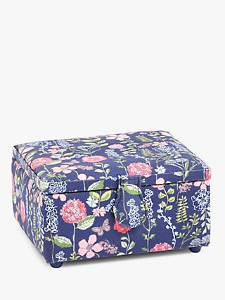 John Lewis & Partners Stems Print Small Square Sewing Basket, Navy