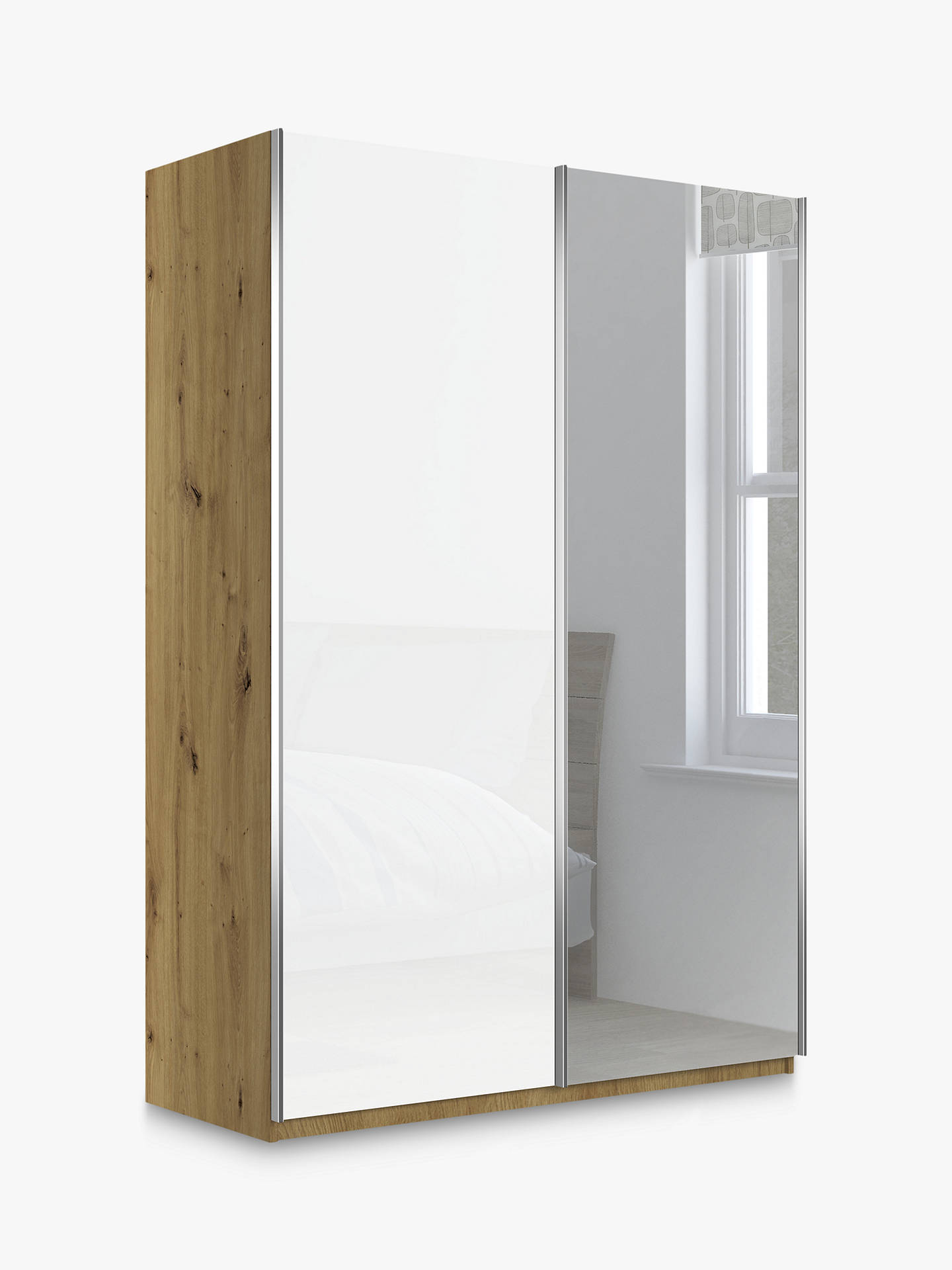 Buy John Lewis & Partners Elstra 150cm Wardrobe with White Glass and Mirrored Sliding Doors, Bianco Oak Online at johnlewis.com