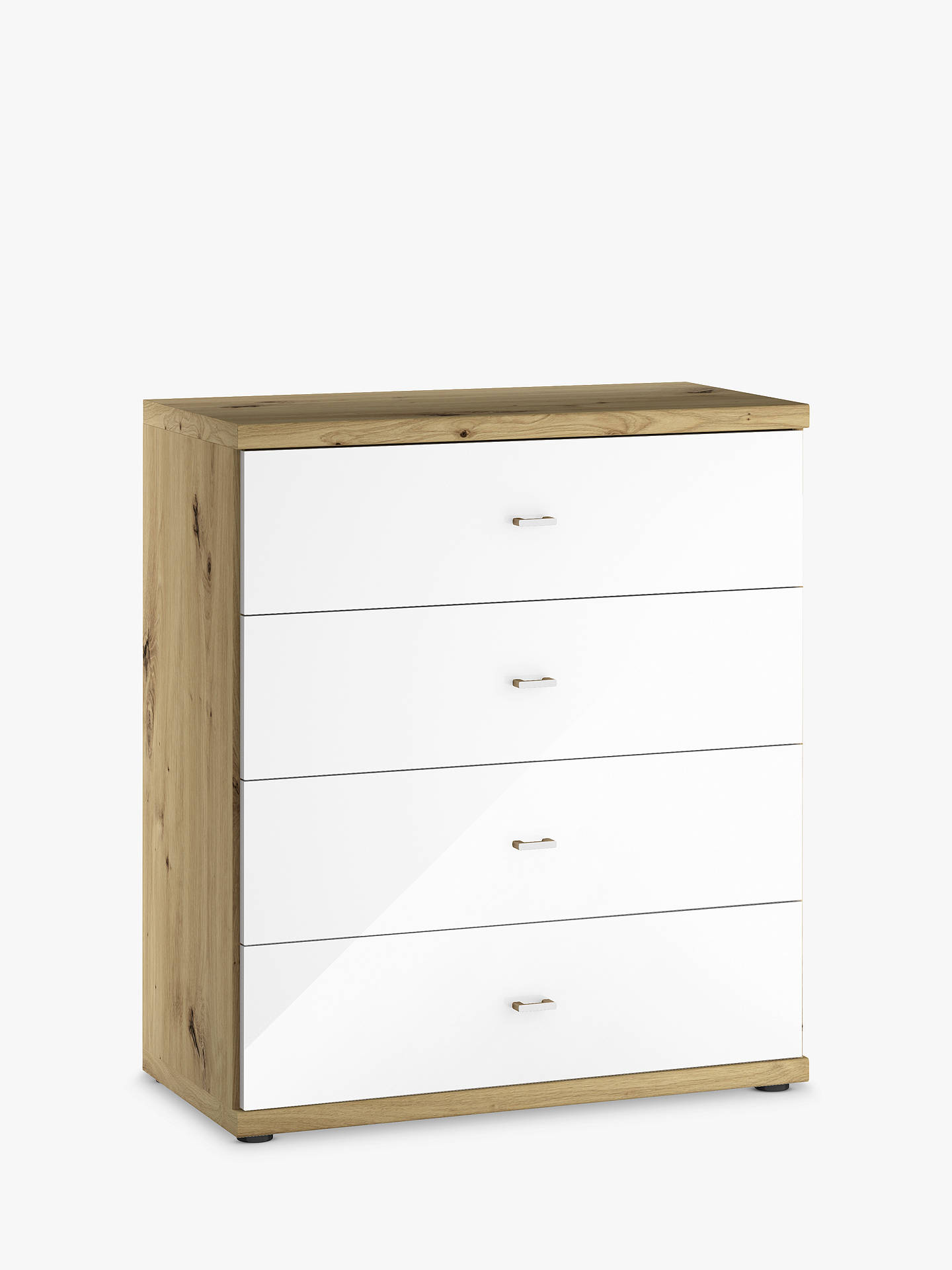 Buy John Lewis & Partners Elstra Wide 4 Drawer Glass Front Chest, White Glass/Bianco Oak Online at johnlewis.com