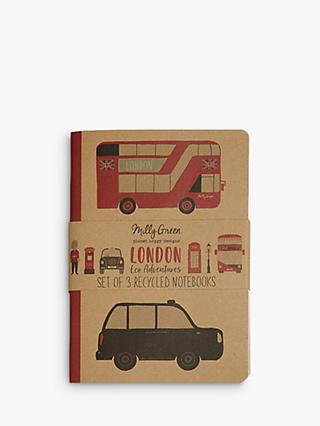 Milly Green Recycled Paper London Mini Notebooks, Pack of 3