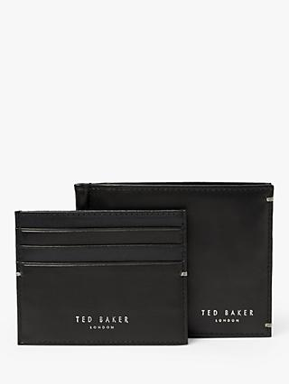 Ted Baker Jeren Leather Wallet and Card Holder Gift Set, Black