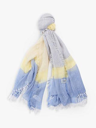 Barbour Whitmore Cotton Wrap, Yellow/Cornflower