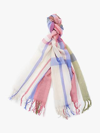 Barbour Country Check Print Wool Tartan Scarf, Tayberry/Sand Dune