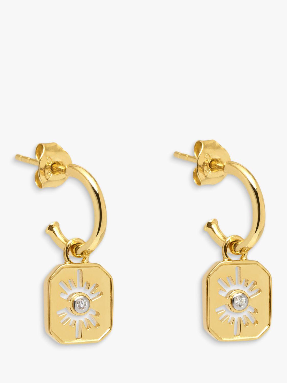 Lola Rose Lola Rose Curio Celestial Cubic Zirconia Huggie Drop Earrings, Gold