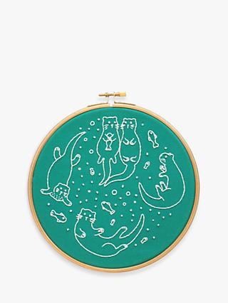 "Hawthorn Handmade Awesome Otters Embroidery Hoop, 7"", Green Teal"