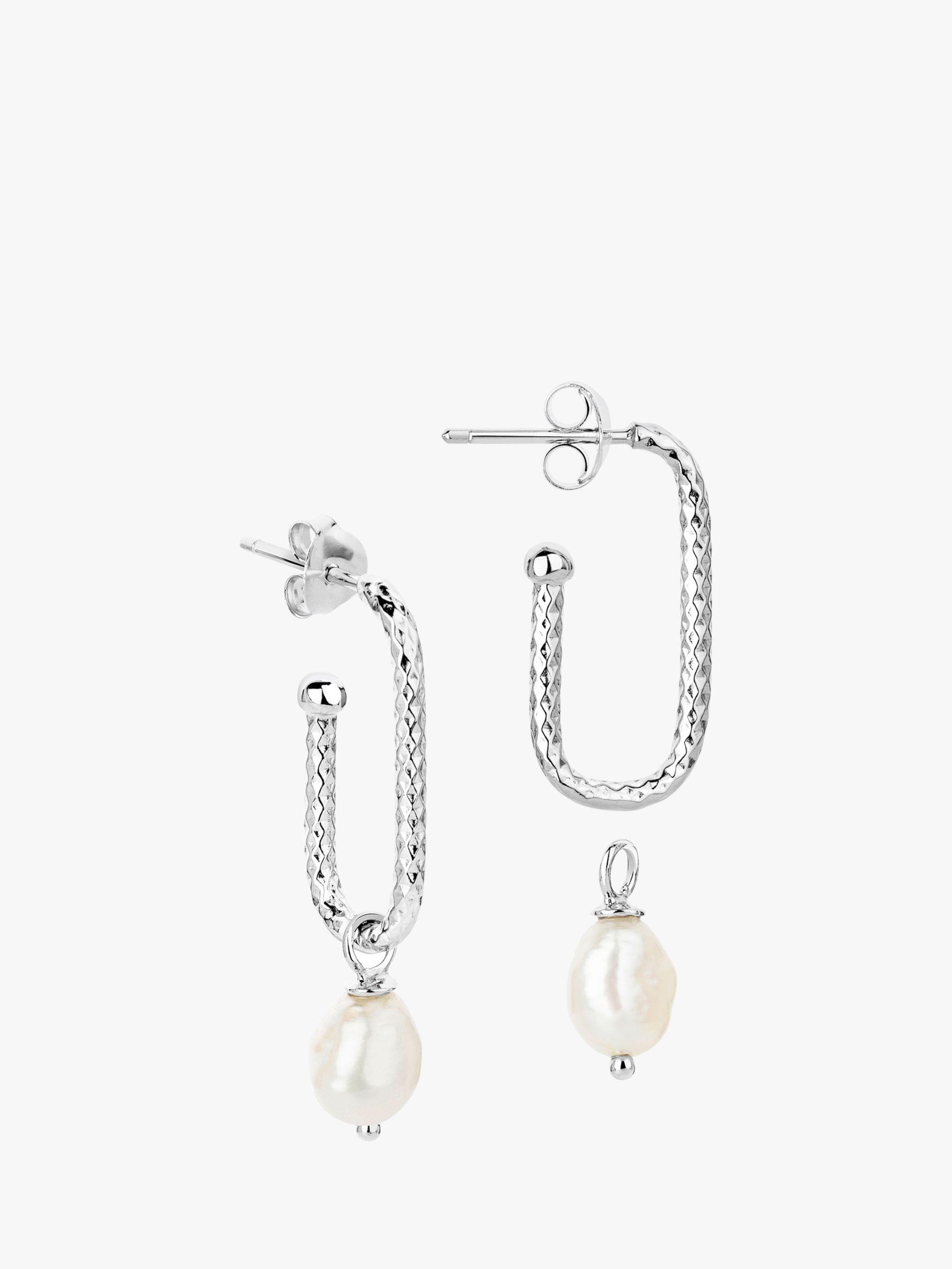 Claudia Bradby Claudia Bradby Textured Rectangular Pearl Drop Earrings, Silver