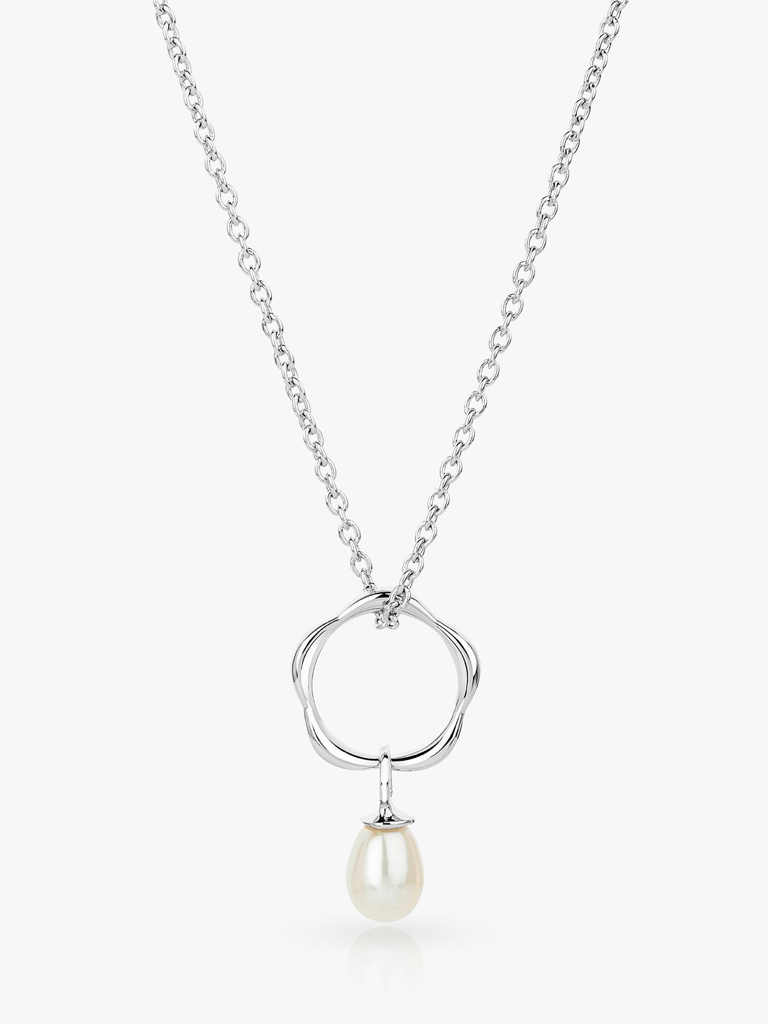 Claudia Bradby Claudia Bradby Dream Catcher Freshwater Pearl Pendant Necklace, Silver