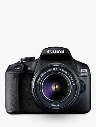 "Canon EOS 2000D Digital SLR Camera with 18-55mm III DC Lens, 1080p Full HD, 24.1MP, Wi-Fi, NFC, Optical Viewfinder, 3"" LCD Screen, Black"