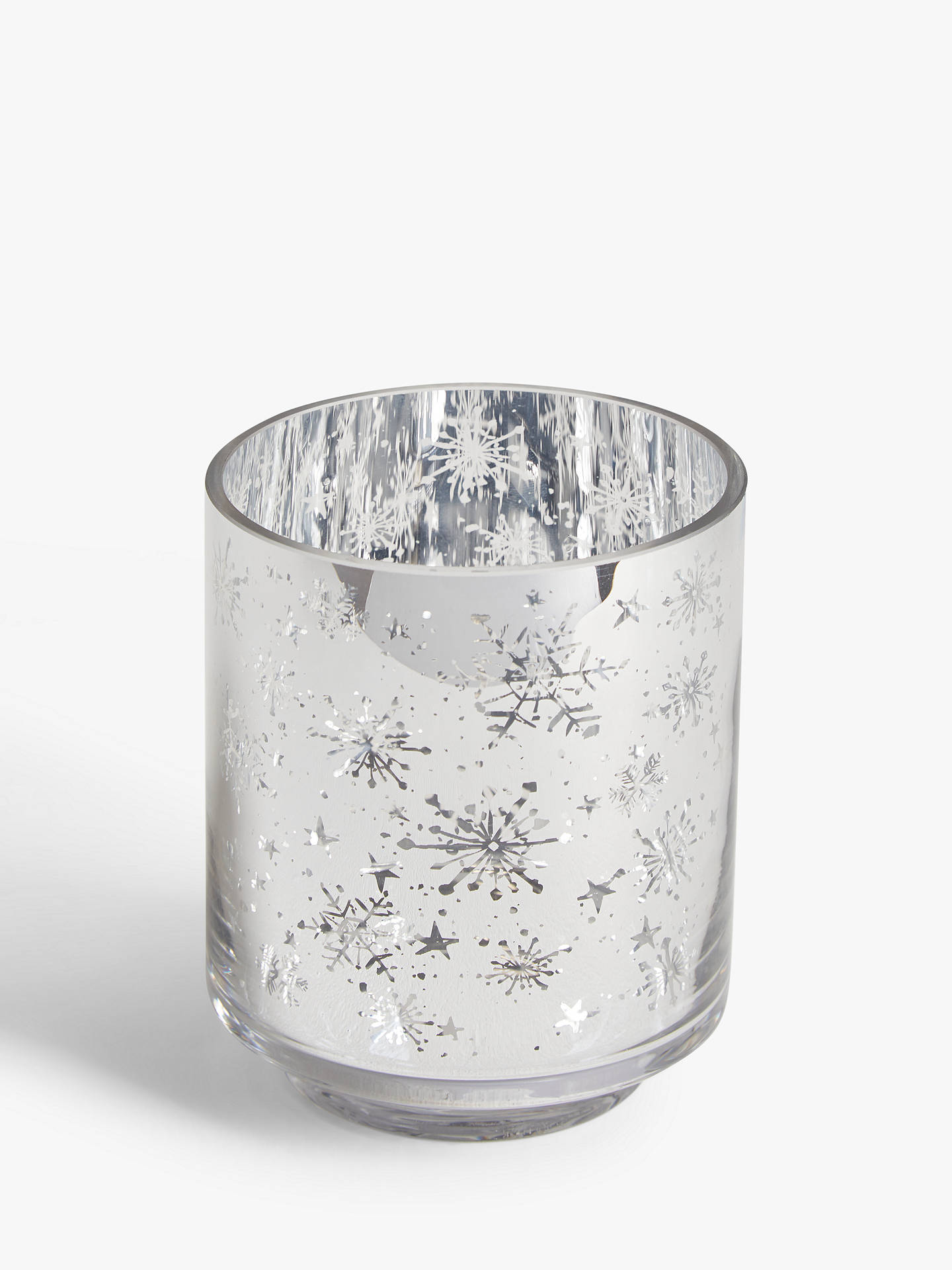 Buy John Lewis & Partners Christmas Snowflake & Stars Votive Candle Holder, Silver Online at johnlewis.com