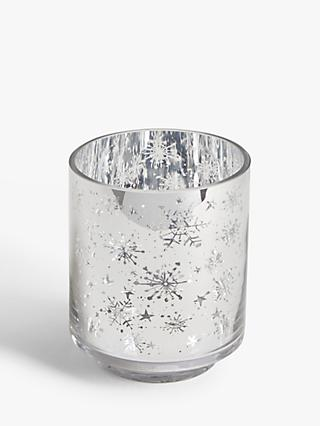 John Lewis & Partners Christmas Snowflake & Stars Votive Candle Holder, Silver