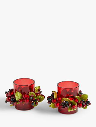 John Lewis & Partners Christmas Cranberry Tealight Candle Holders, Set of 2, Red