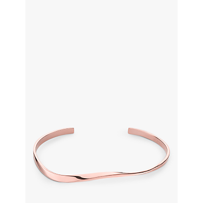 ROSEFIELD Iggy Twisted Open End Bangle, Rose Gold