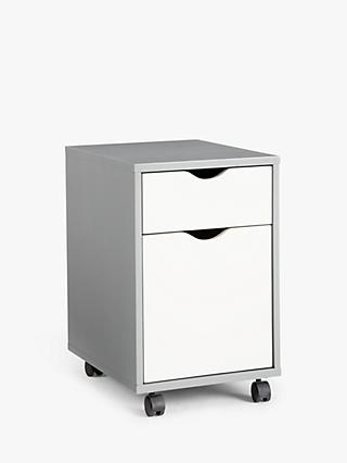 House by John Lewis Loft 2 Drawer Filing Cabinet, Grey/White