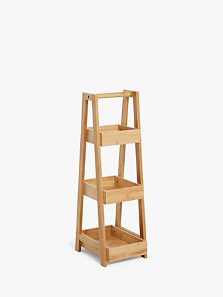 John Lewis & Partners Bamboo 3 Tier Bathroom Caddy, Small