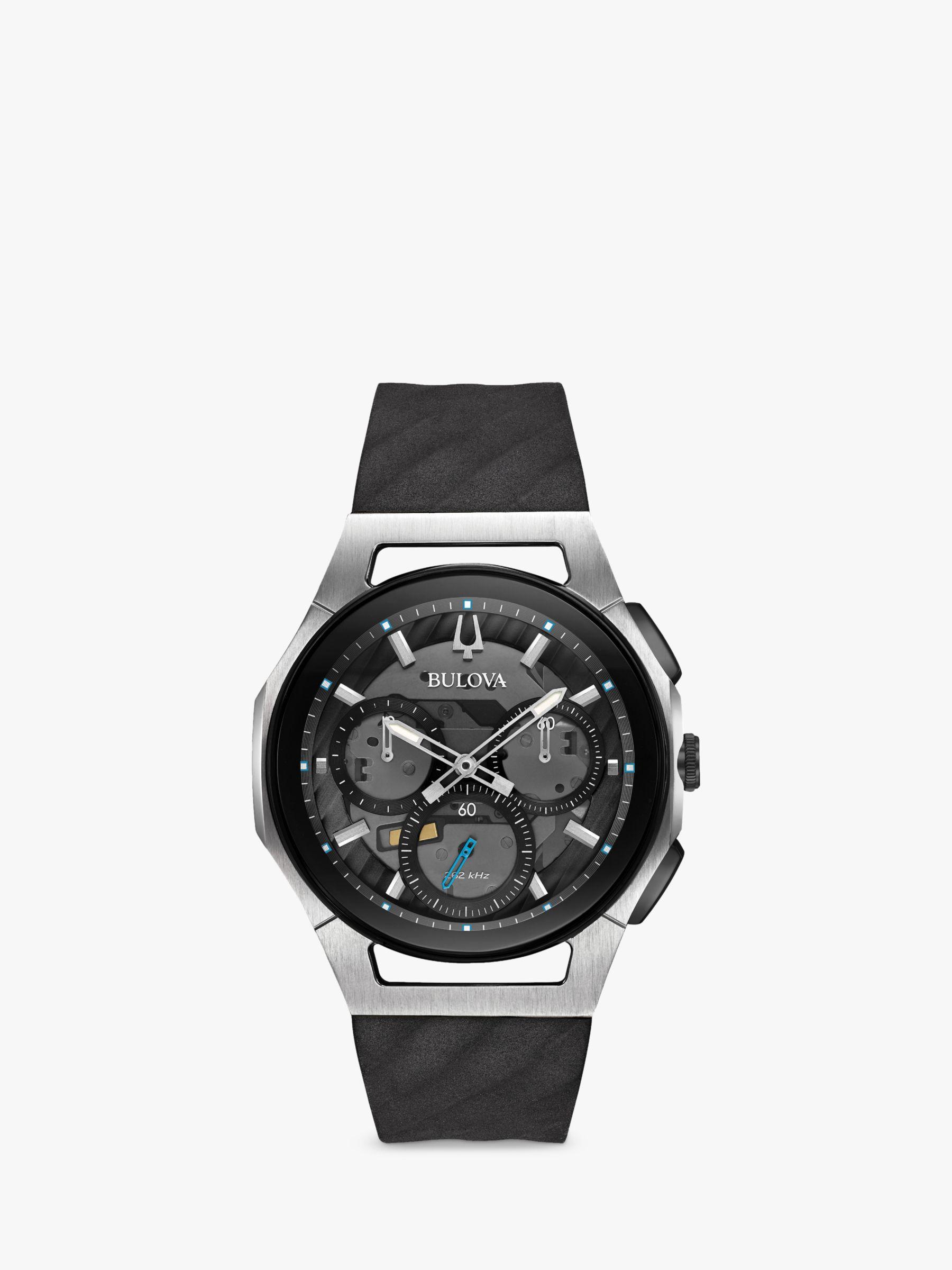 Bulova Bulova 98A161 Men's Curv Chronograph Silicone Strap Watch, Black