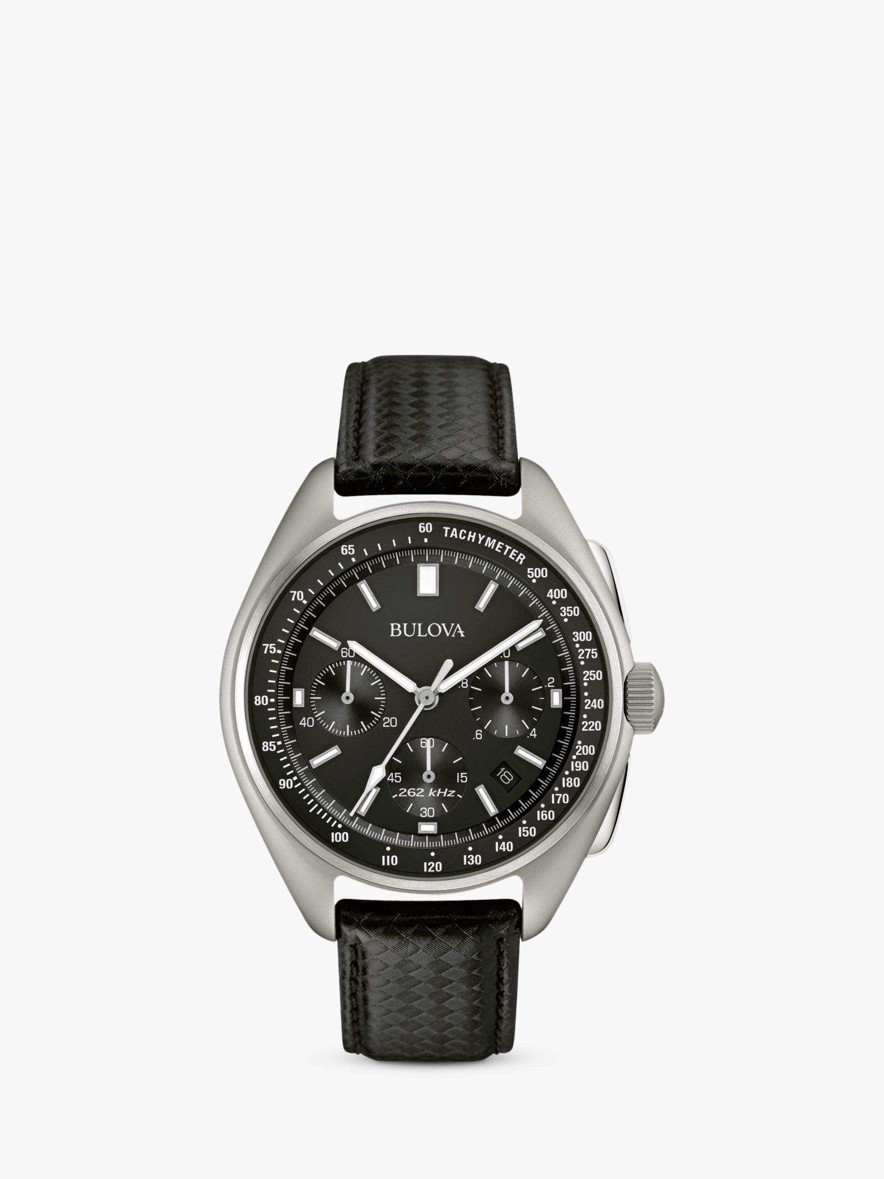 Bulova Bulova 96B251 Men's Special Edition Lunar Pilot Date Chronograph Leather Strap Watch, Black