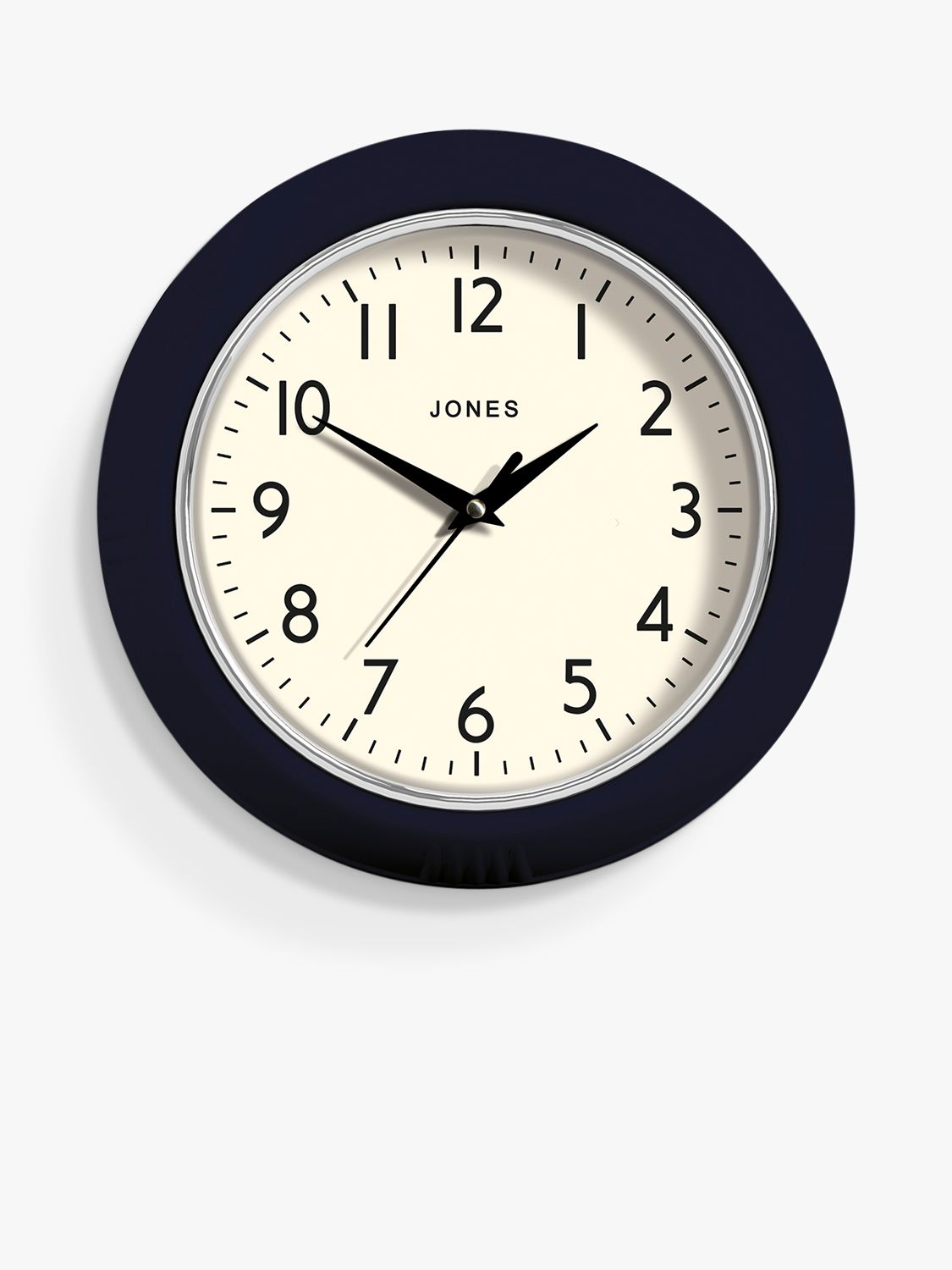 Jones Clocks Jones Clocks Ketchup Small Analogue Wall Clock, 24.5cm, Midnight Blue