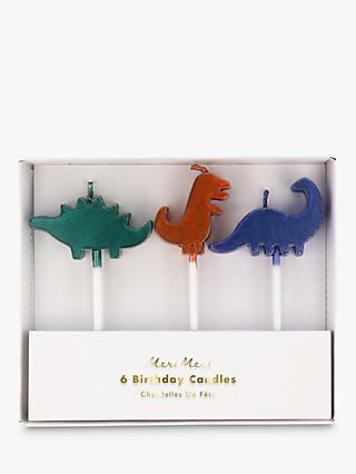 Meri Meri Dinosaur Birthday Candles, Pack of 6