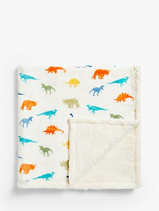 little home at John Lewis Dennis Dinosaur Sherpa Fleece Throw, Multi