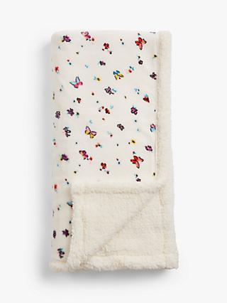 little home at John Lewis Butterflies Sherpa Fleece Throw, Multi