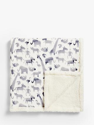 little home at John Lewis Safari & Friends Sherpa Fleece Throw