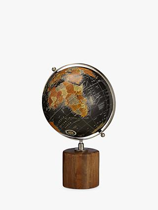 John Lewis & Partners Globe on Wooden Stand, Natural/Black