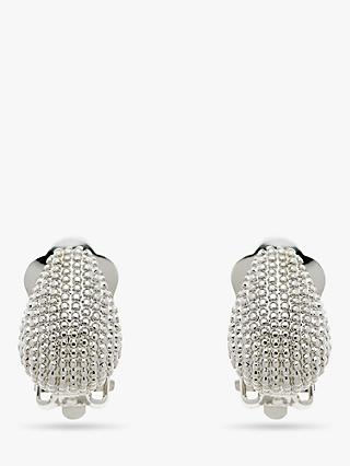 Emma Holland Curved Textured Clip-On Stud Earrings, Silver