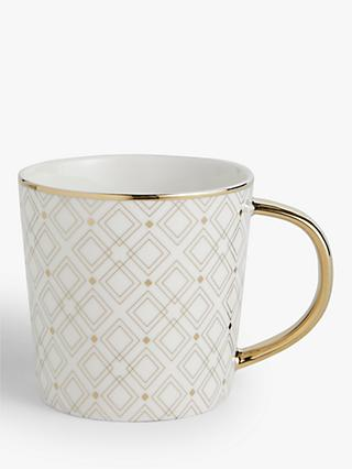 John Lewis & Partners Gift-Boxed Geometric Mug, 400ml, Gold