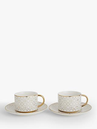 John Lewis & Partners Gift-Boxed Geometric Tea Cup & Saucer, Set of 2, 220ml, Gold