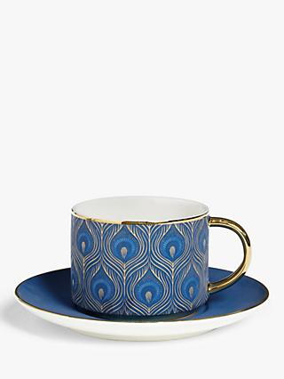 John Lewis & Partners Gift-Boxed Peacock Tea Cup & Saucer Set, 220ml, Blue
