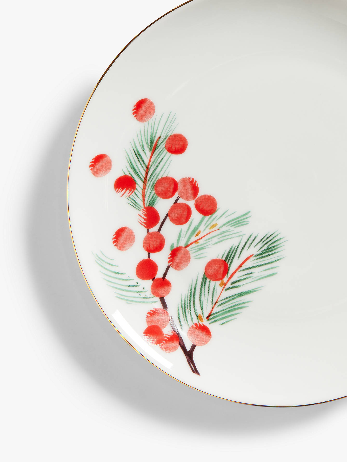 Buy John Lewis & Partners Berry Print Side Plate, 20.3cm, Red/White Online at johnlewis.com
