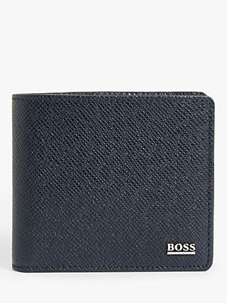 BOSS Signature Palmellato Leather Coin Pocket Wallet, Blue