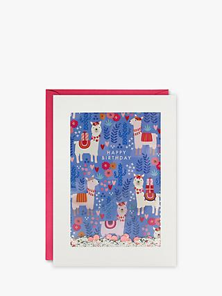 James Ellis Stevens Glitter LLamas Birthday Card