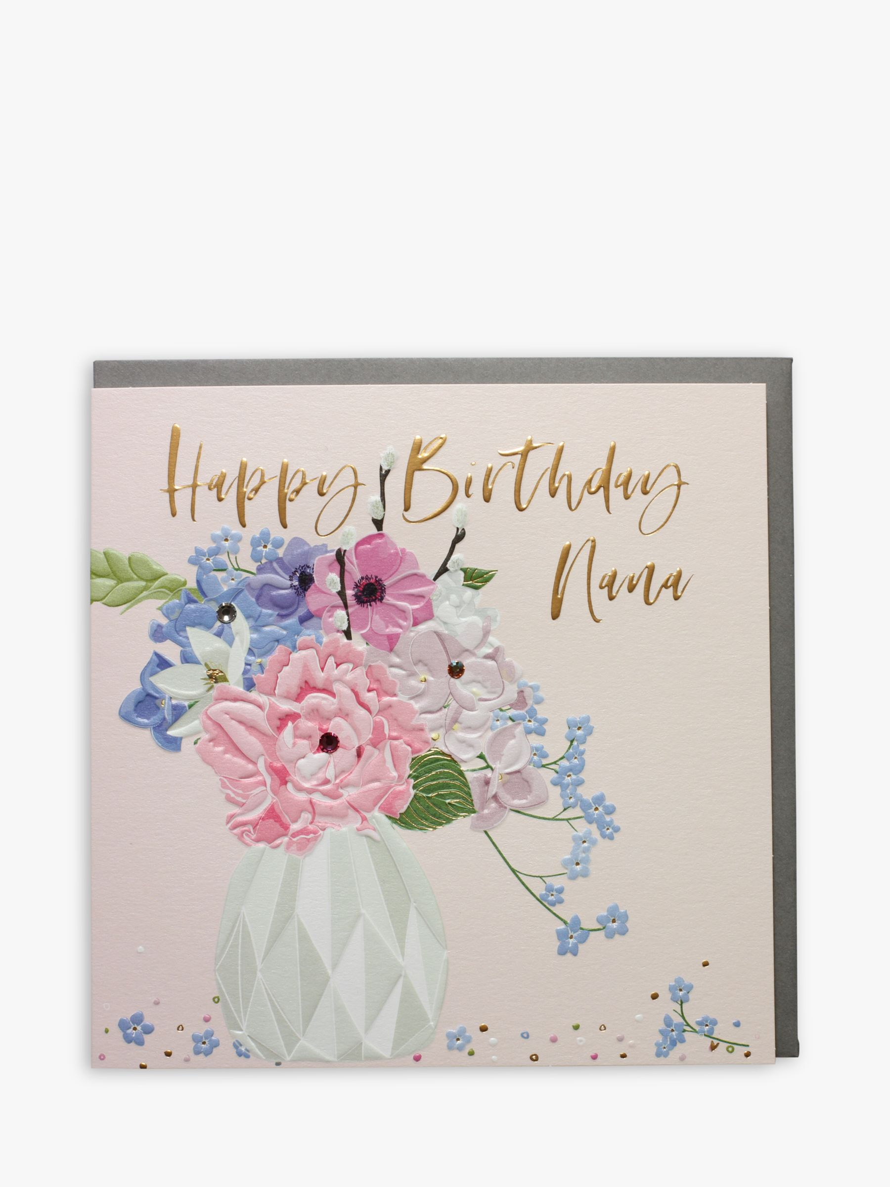 Belly Button Designs Floral Nana Birthday Card At John Lewis Partners