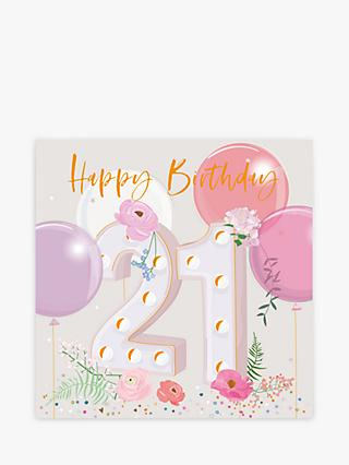 Belly Button Designs Floral Balloons 21st Birthday Card