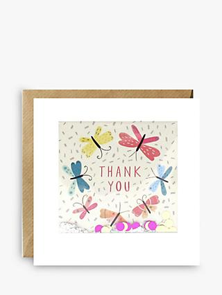 James Ellis Stevens Glitter Butterflies Thank You Card