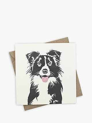 Penguin Ink Border Collie Blank Greeting Card