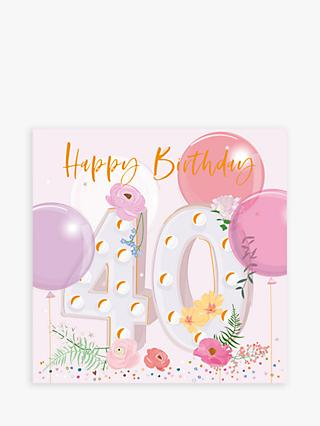 Belly Button Designs Floral Balloons 40th Birthday Card