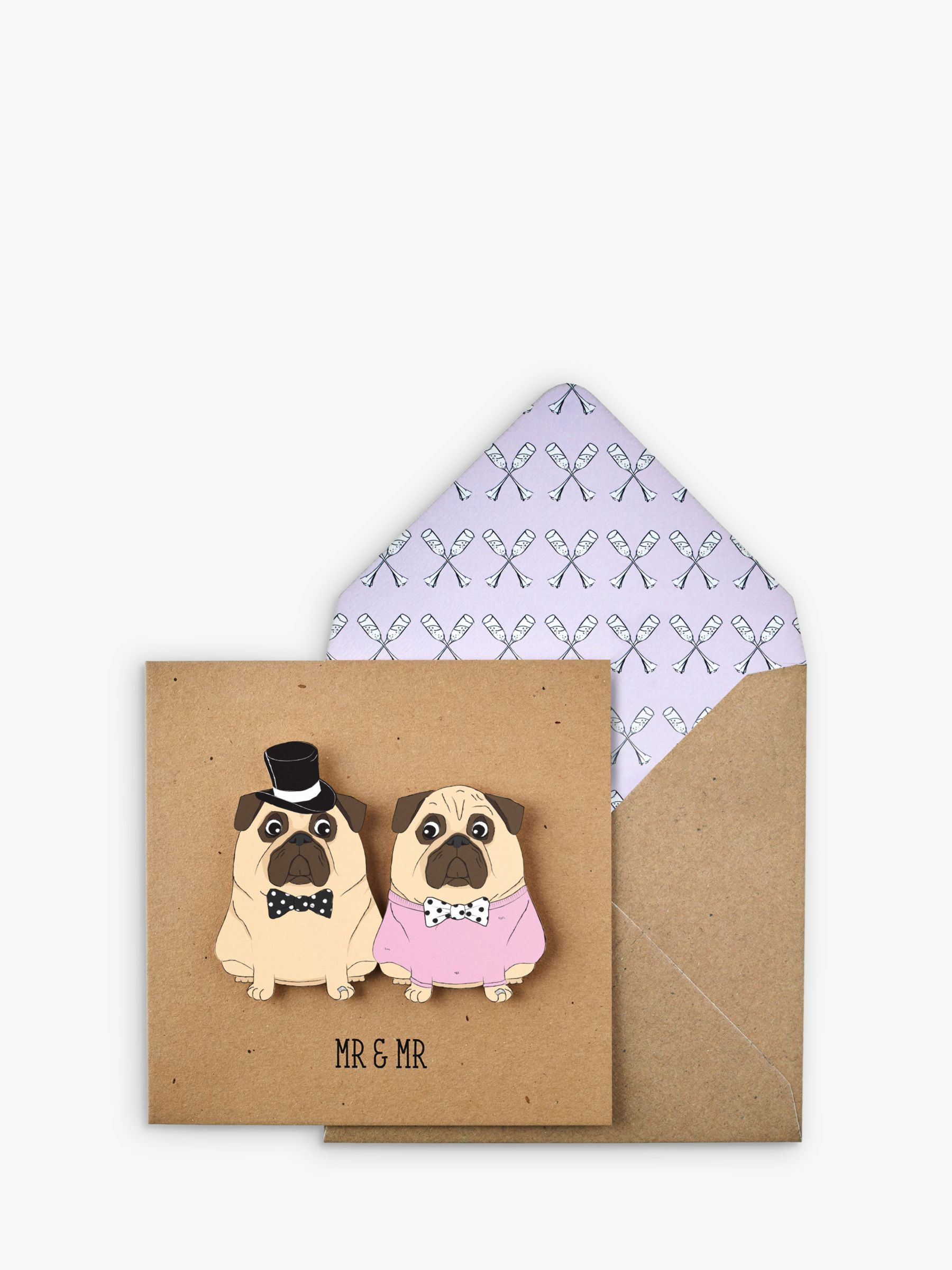 Tache Crafts Tache Crafts 3D Pug Couple Wedding Card