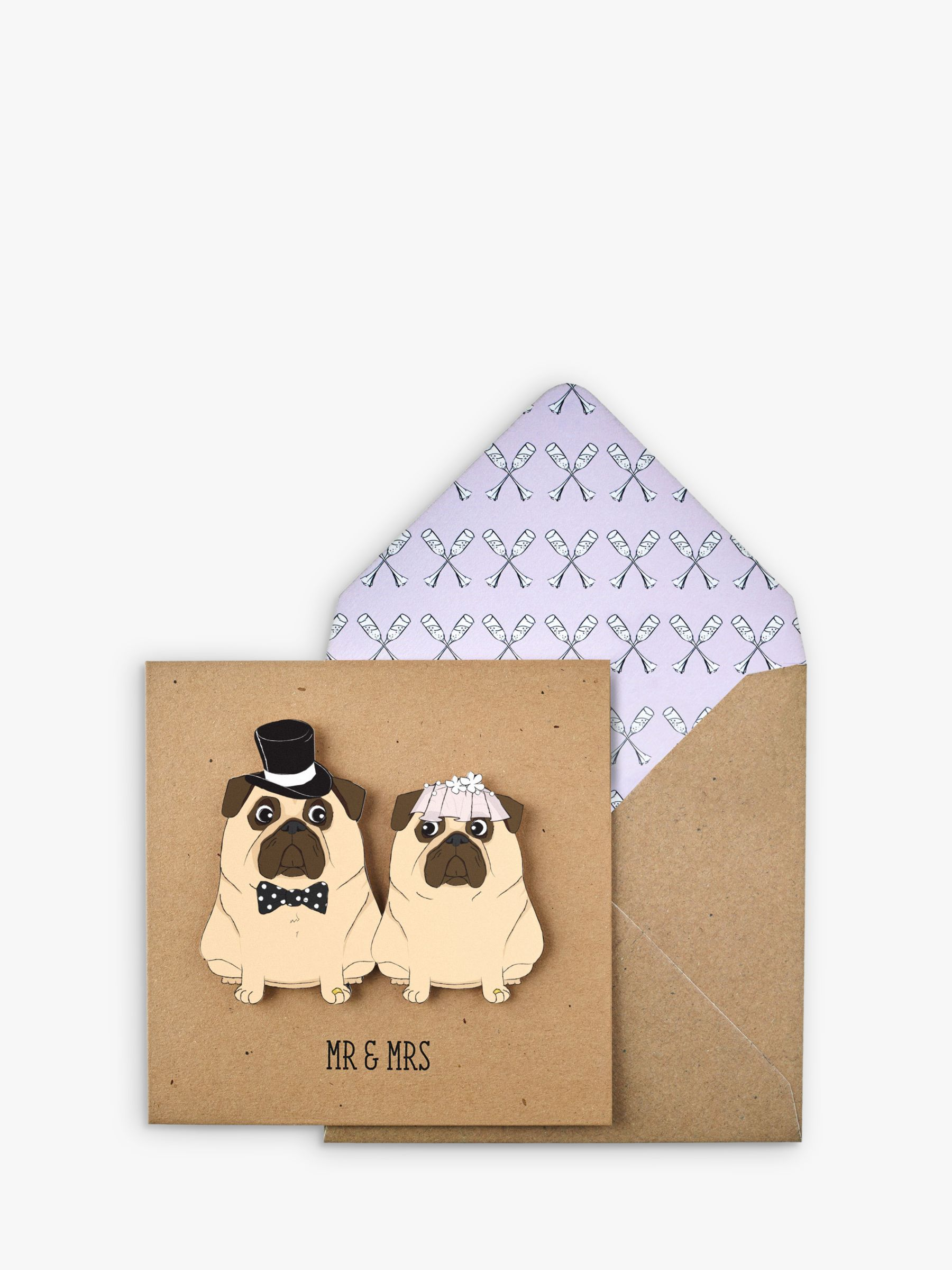 Tache Crafts Tache Crafts 3D Pug Mr & Mrs Wedding Card
