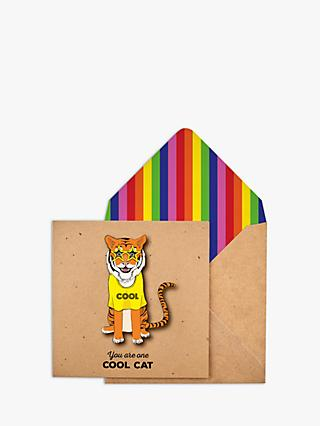 Tache Crafts 3D Cool Cat Tiger Blank Greeting Card