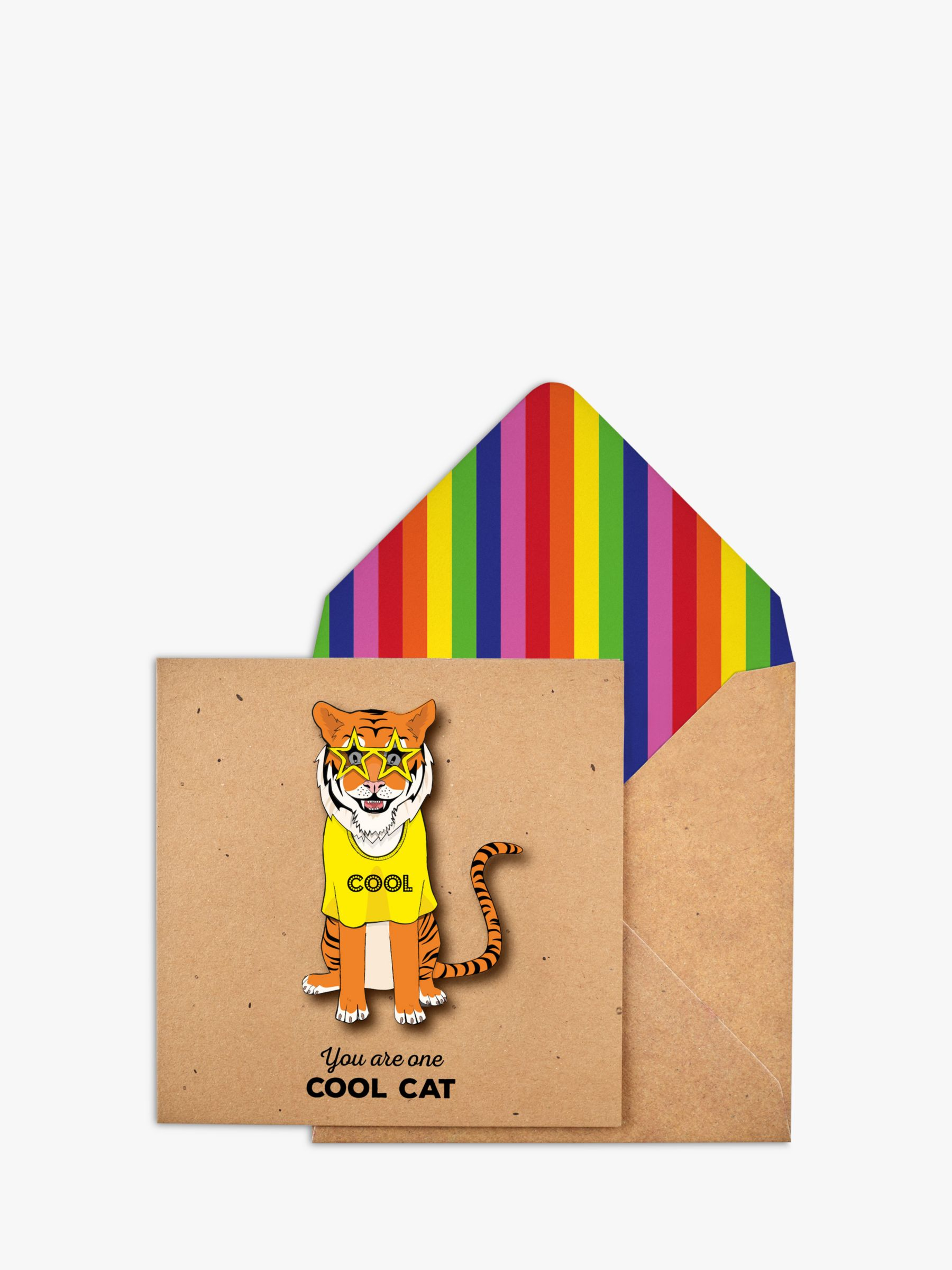 Tache Crafts Tache Crafts 3D Cool Cat Tiger Blank Greeting Card