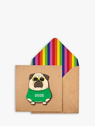 Tache Crafts 3D Dude Dog Blank Greeting Card