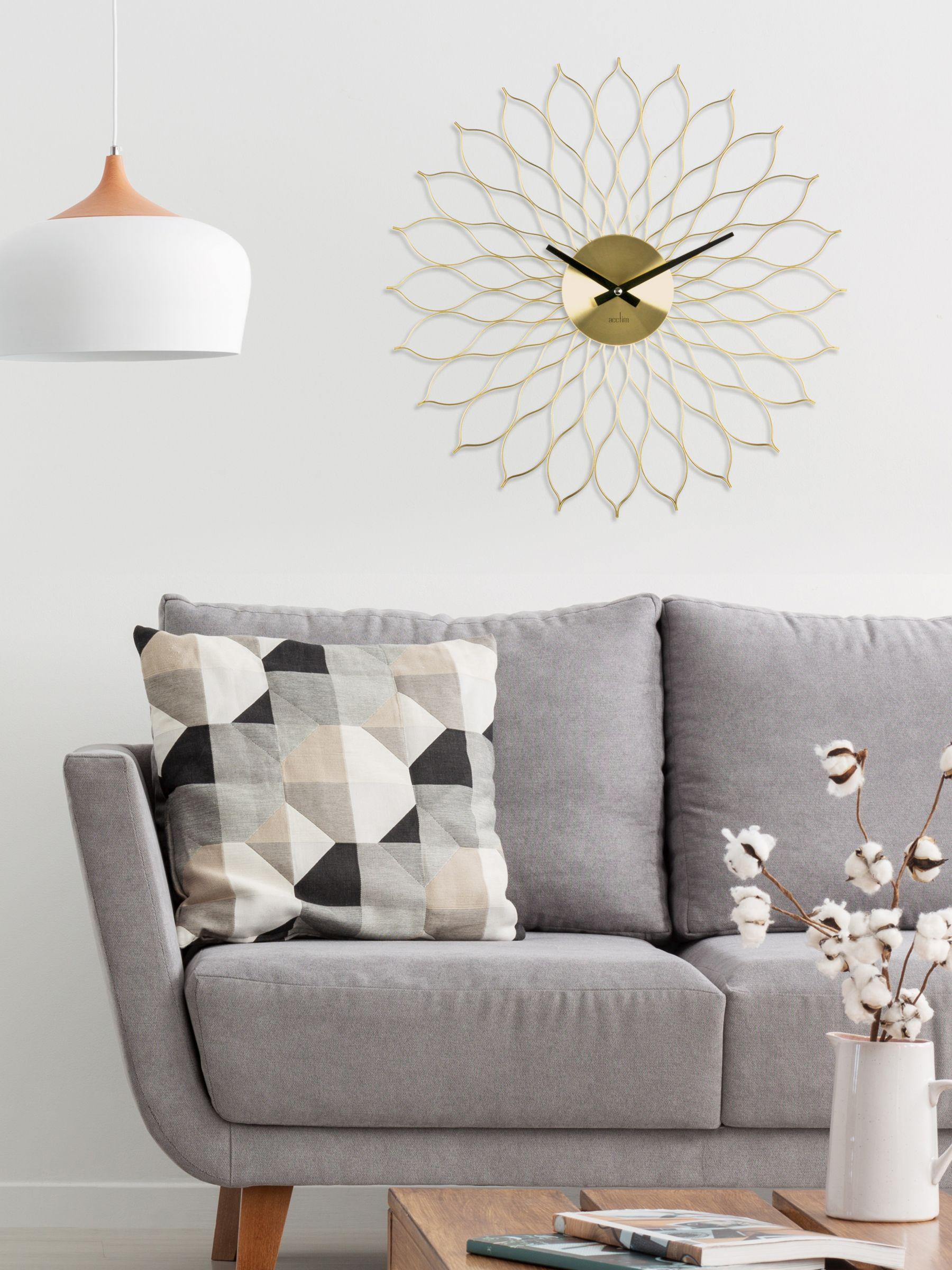 Acctim Acctim Helios Quartz Wall Clock, 49cm, Brass