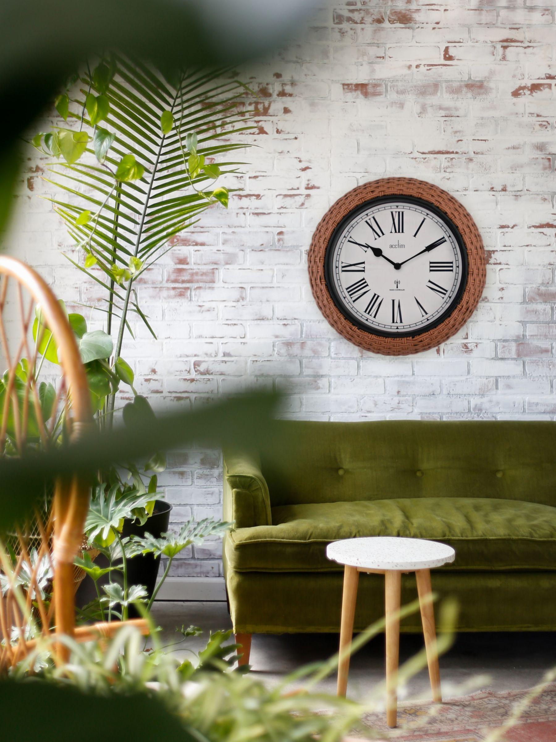 Acctim Acctim Radio Controlled Rattan Indoor/Outdoor Wall Clock, 35cm, Natural