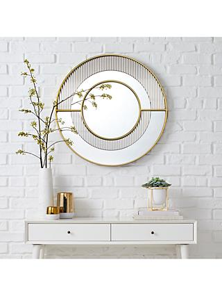 west elm Helena Round Wall Mirror, 76cm, Brass