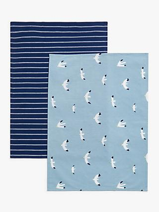 ANYDAY John Lewis & Partners Seagull Cotton Tea Towels, Pack of 2, Blue