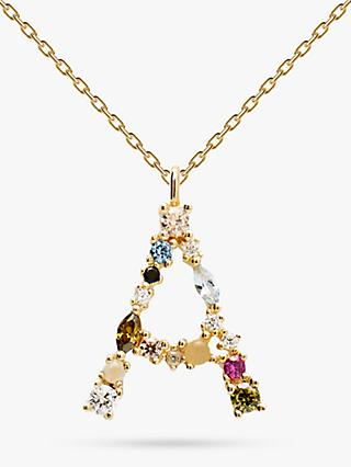 PDPAOLA Cubic Zirconia Initial Pendant Necklace, Gold/Multi