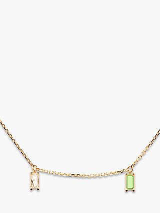 PDPAOLA Elija Baguette Cut Cubic Zirconia Chain Necklace, Gold/Multi
